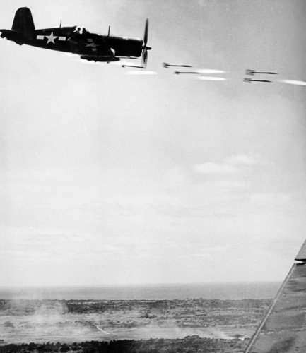 this Corsair is firing CalTech's rockets in the battle for Okinawa