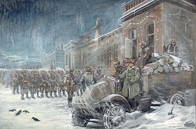 Canadians Outside the Depot, Siberia -- painting by Col. Louis Keene, CWM 19710261-0316