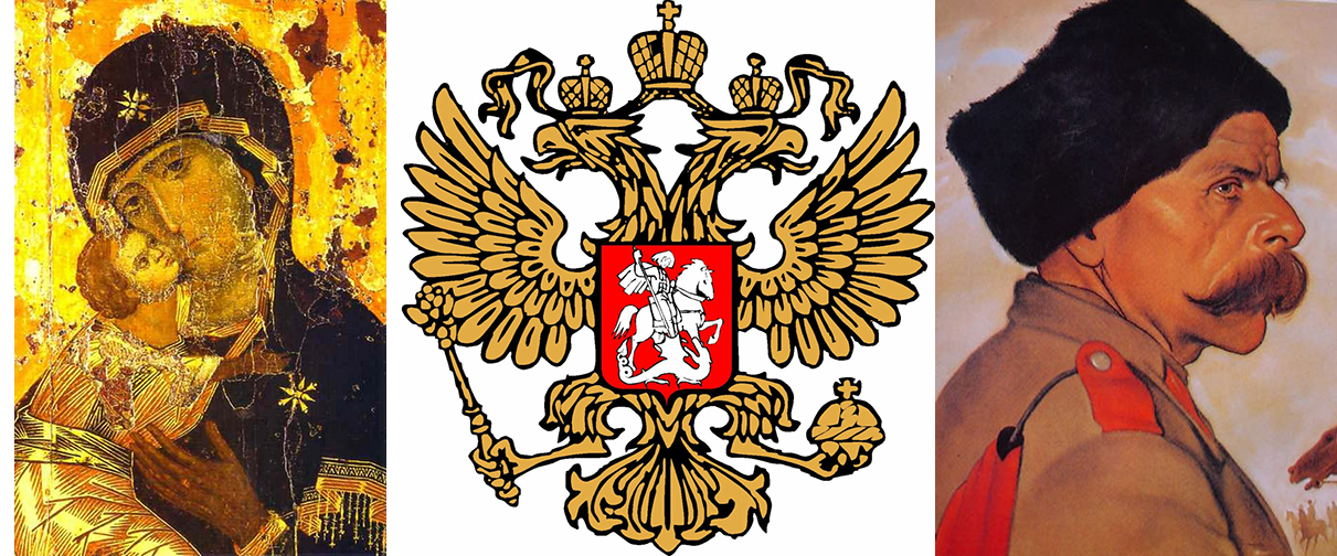 Russia--Our Lady of Vladimir, The Imperial Eagle, a Cossack