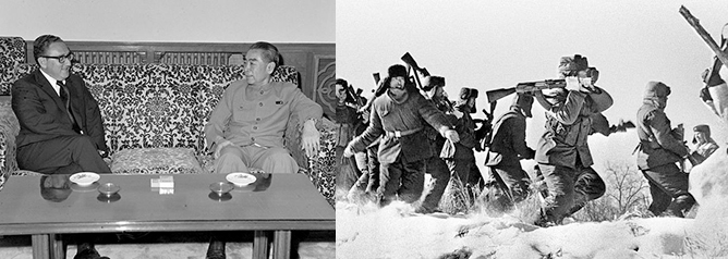 Kissinger and Chou En Lai chat, Soviet and Chinese soldiers fight