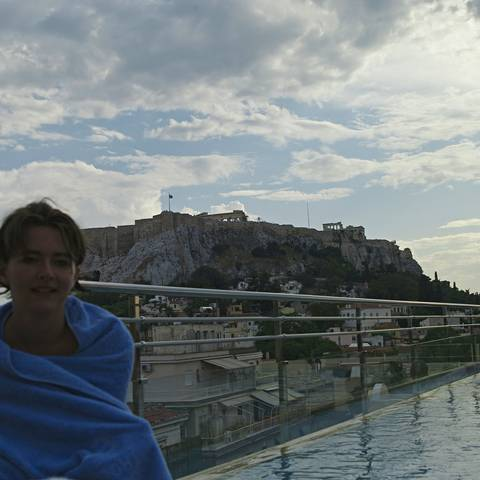 Swimming past the Acropolis, Athens.